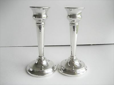 Pair Silver Candlesticks Chester 1927 Maker S Blackensee  A/F
