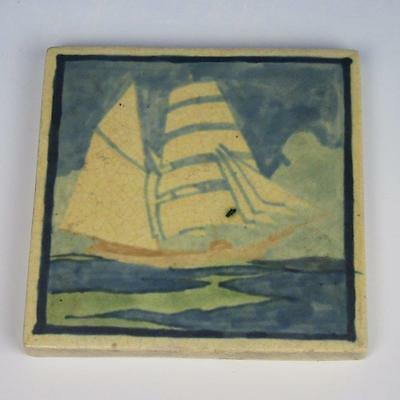 "Marblehead Art Pottery 4½"" Tile of Ship - HT Artist Initials - Ship Mark"