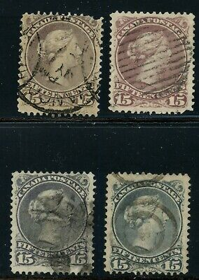Canada 1868 Large Queen 4 main colour varities #29 - 30 various cancels