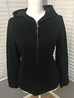 Talbots Women's Long Sleeve Zip Up Hoodie Sweater Black Size Small S