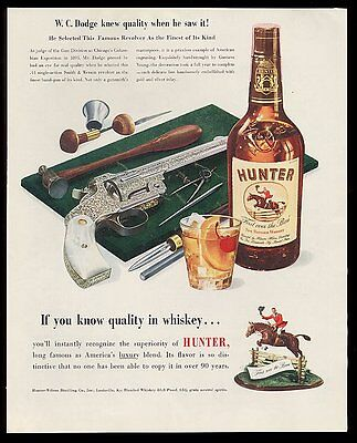 1951 Smith & Wesson .44 1893 gold silver revolver photo Hunter whiskey print ad