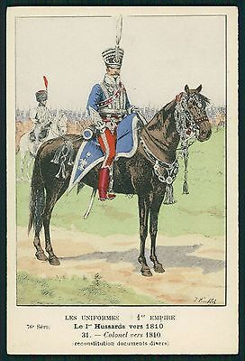 Hussards 1810 France war Army original old c1910s postcard lot complete SET of 8
