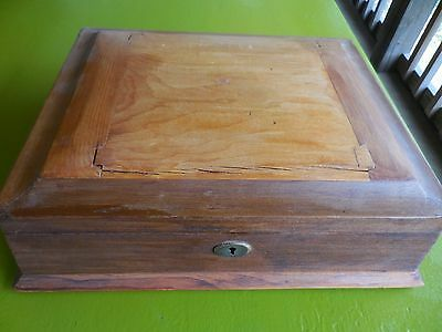 Antique Victorian Wood Jewelry Box With Original Satin lining