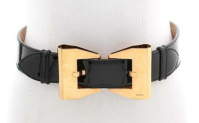 Gucci Black Patent Leather Gold Bow Belt Size 75/30
