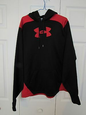 Under Armour Hoodie Sweatshirt Cold Gear Big Logo Loose Storm Black Red Men's L