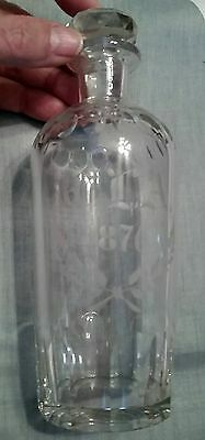 Dated 1876 Large Antique Crystal Perfume~Scent Decanter Bottle w Faceted Stopper