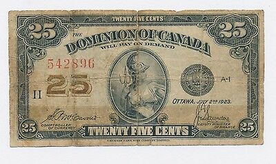 1923 Dominion Of Canada 25 Cents Note Shinplaster