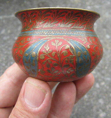 Small Antique enamelled brass Asian Bowl