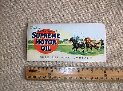 vintage Gulf Refining Co. advertising card, Supreme Motor Oil, Polo, horses