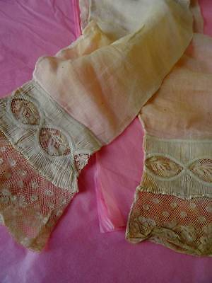 A Fabulous Pair Antique 19th Century French Valenciennes Lace Sleeves.