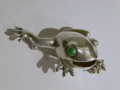 Sterling Silver Frog Pin with Green Eyes