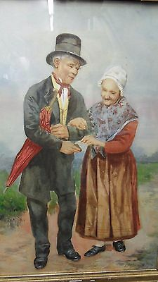 Vintage Watercolor Painting Signed G. Gorring *Adorable Elderly Couple*