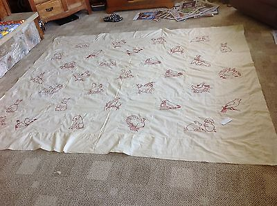 Antique Vintage Quilt Top Hand Embroidered Redwork Blocks Dated 1922 Mint