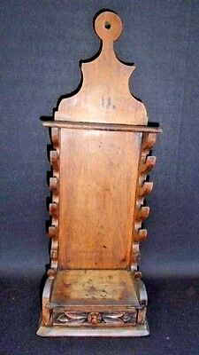 Antique European Walnut Hanging Pipe Holder Hand Dovetailed Const.