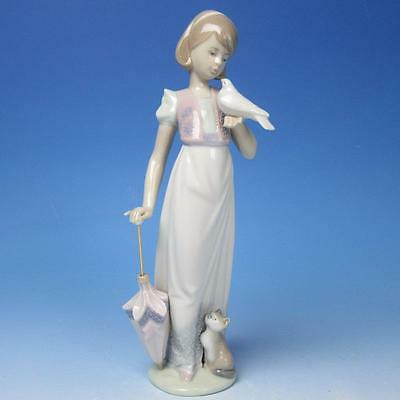 Lladro Porcelain Figure - Summer Stroll - Girl Parasol, Cat, Bird #7611