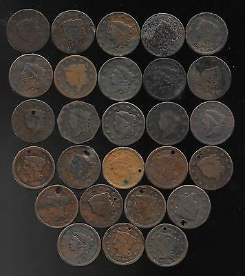 Lot Of 27 Cull Or Holed Us Large Cents