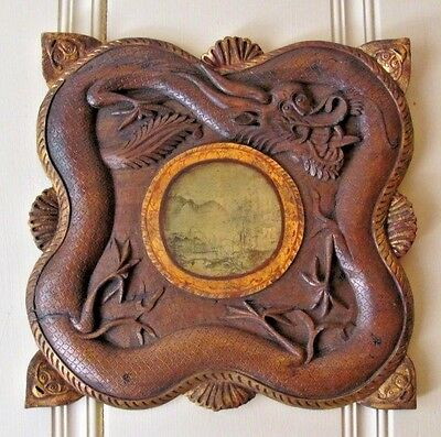 Antique Asian Chinese Dragon Wood Carved Plaque 1850-1899