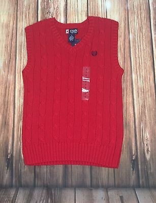 NWT Ralph Lauren Chaps Boys Red Cable Sweater Vest Size 7