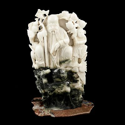 """Antique Vintage Chinese Qing Carved 8.5"""" White Jade Jadeite Shoulao Stand Statue"""