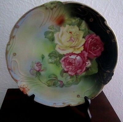 "Antique Large Pink And Yellow Rose 12"" Plate - Gorgeous!!"