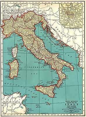 1937 Antique MAP of ITALY Map Vintage 1930's Italy Print Gallery Wall Art 3735