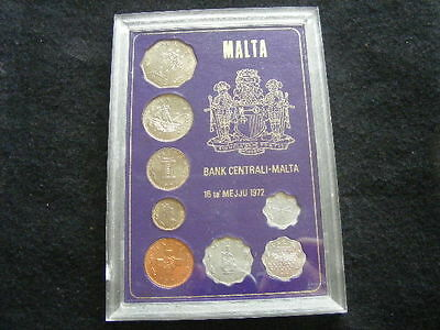 MALTA 1972 8 COIN UNCIRCULATED SET - cased