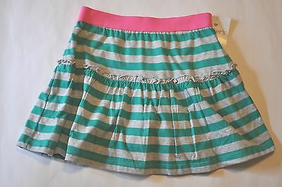 NWOT Girl Carters Pink Grn Gray Stripe Scooter Skort Skirt w Shorts 5 NEW