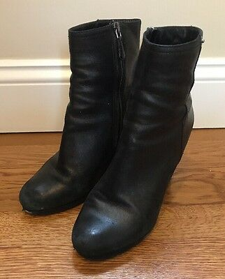 Prada Black Leather Wedge Ankle Boots Shoes Women's Size 37.5 US 7.5