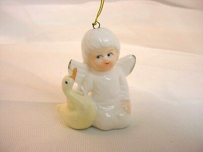 Vtg Miniature Angel Figurine with Yellow Duck 2 inch Ornament