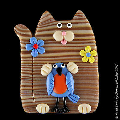 Tan Gold Tabby Kitty Cat, Flowers & Bluebird Pin - SWris
