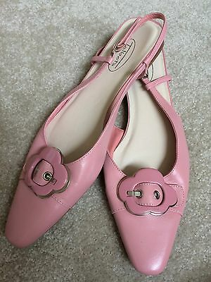 Women's Talbots Pink Leather Slides Mules Shoes Size 8 AA