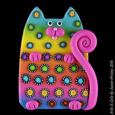 Teal Yellow Pink Blue Kitty Cat with Colorful Pinwheel Spots Pin - SWris