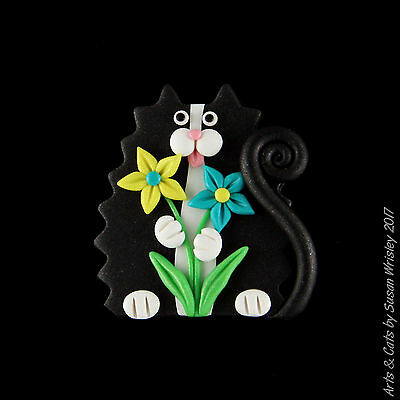 Small Dark Silver-Black Tuxedo Kitty Cat & Flowers Pin - SWris