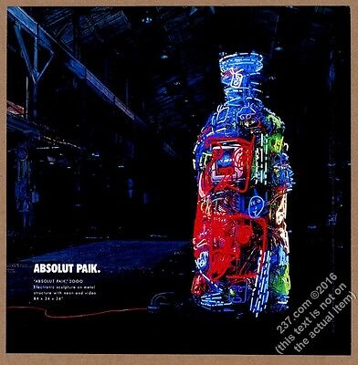 2001 Absolut Paik Nam June Paik vodka bottle art vintage print ad