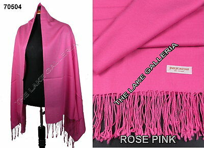 New Classic Rose Pink Real 100% Pure Pashmina Cashmere Wool Shawl Wrap Scarf