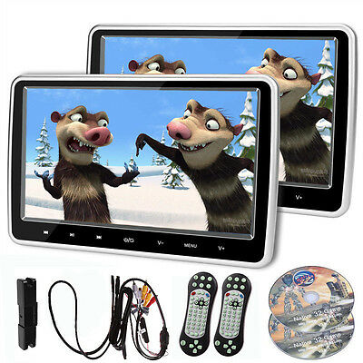 "2PCS 10"" HD Digital LCD Screen CAR HEADREST MONITOR DVD/USB Player IR/FM Game"