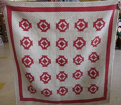 "Antique Vintage Doll Quilt 40"" X 40"" Churn Dash variation Red and Off-white"