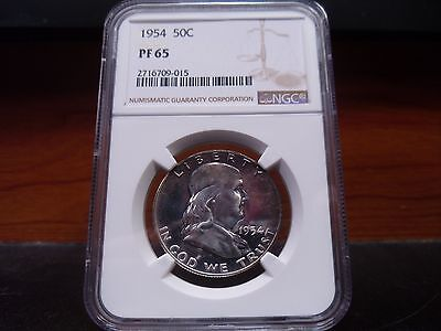 1954 PF65 (Proof) Franklin Half Dollar NGC Certified Gem - Toned