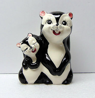 "Vintage  - Skunk - Mother and Baby / Figurine  Ceramic Bank - 7 "" tall"