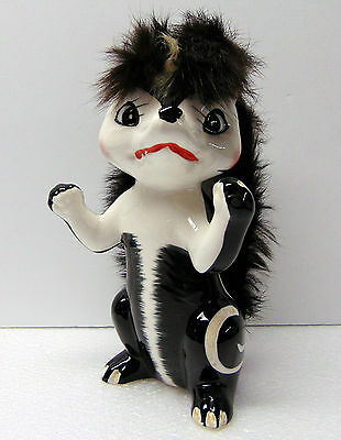 "Vintage  - Skunk With Fur Statue / Figurine Ceramic - 7 "" tall  - from 1960's"