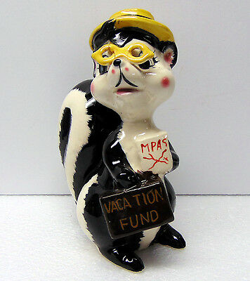 "Vintage - Ceramic Skunk Tourist Bank For Vacation Fund - 6 1/2 "" Tall"