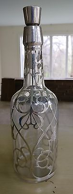 Antique Sterling Silver Overlay Bottle or Decanter Thistle Scrolls Liquor 1900