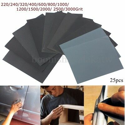 25pcs SANDING SHEETS Wet/Dry Silicon Carbide Waterproof Sandpaper Grits
