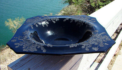 "ARDITH Etched CONSOLE BOWL 1930's PADEN CITY 11"" EBONY Elegant Depression GLASS"