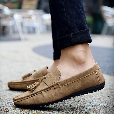Fashion Vintage Men's Casual Loafers Suede Leather Tassels Moccasin Flats Shoes
