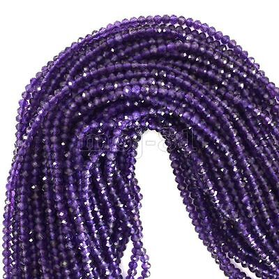 4mm Natural Faceted Purple Amethyst Round Gemstones Loose Beads 15'' Strand