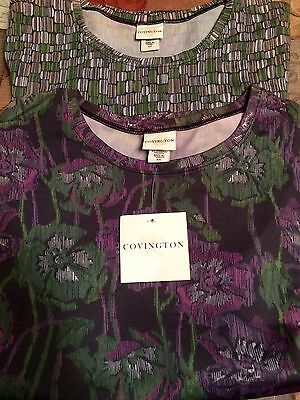 Lot Of 2 Covington Tops  Short Sleeve NEW WITH TAGS