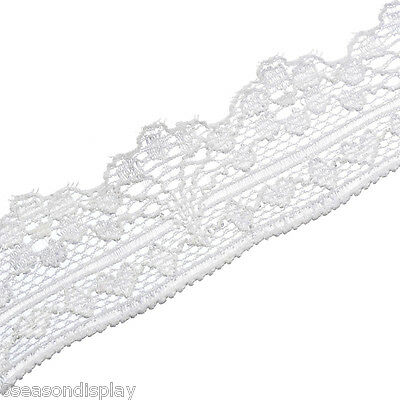 10Yards White Elastic Lace Polyester DIY Craft Sewing Accessories 2.5cm