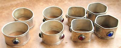 Old 8. Silver  Plated Napkin Rings Set With Stones