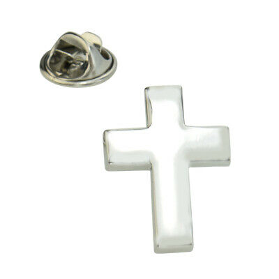 Rhodium Plated Christian Cross Lapel Pin Badge X2AJTP577